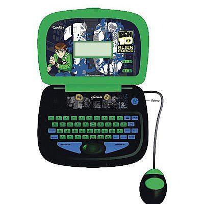 Laptop infantil do Alien Force com 58 atividades em 3 idiomas: Português, Inglês e Espanhol.  Atividades de lógica, ortografia, matemática, música e jogos.